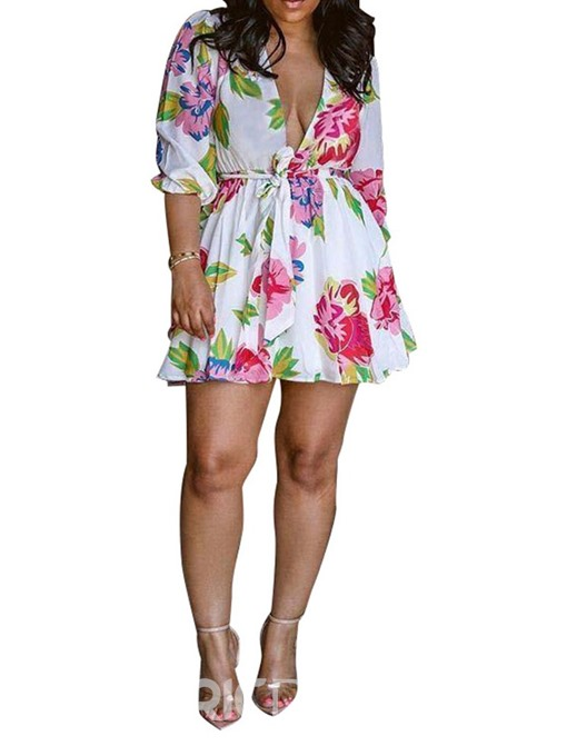 Ericdress Three-Quarter Sleeve V-Neck Print Regular Floral Dress