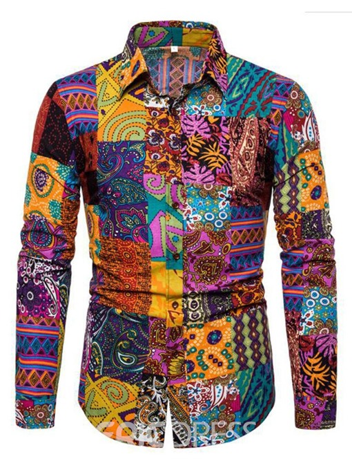 Ericdress Lapel Fashion Print Mens Slim Shirt