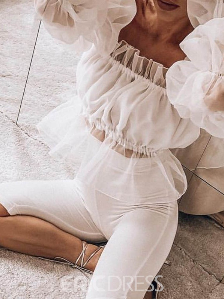 Ericdress Backless Mesh Off Shoulder Short Blouse
