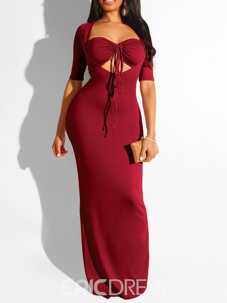 Ericdress Short Sleeve Floor-Length Bodycon Pullover Dress