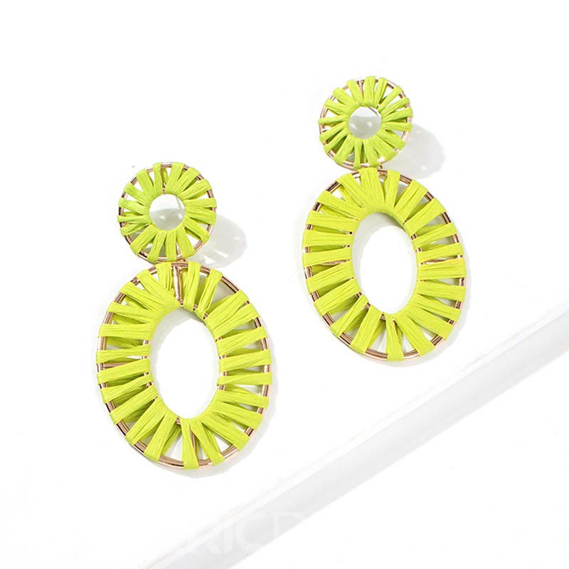 Ericdress Carving Alloy Colour Hoop Earrings