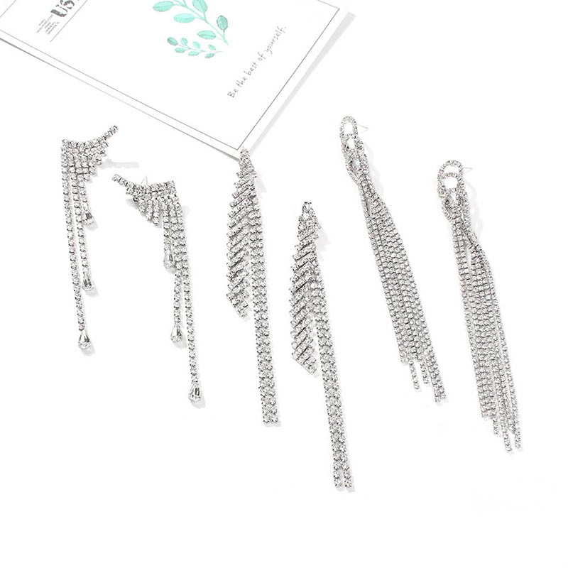 Ericdress Diamante Plain Tassel Earrings