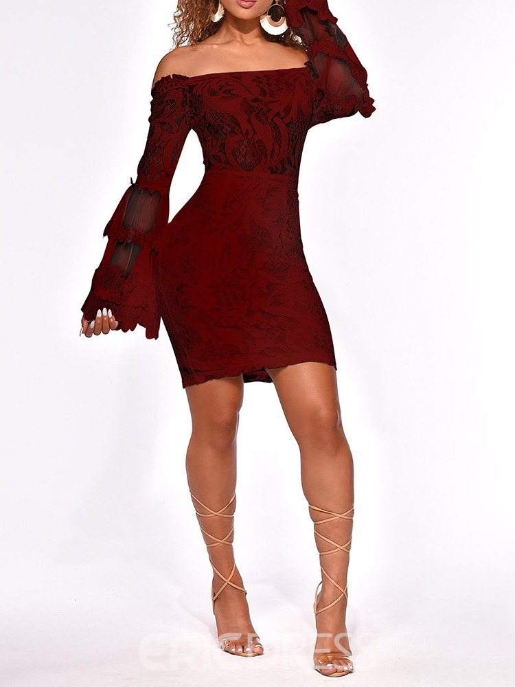 Ericdress Flare Sleeve Off Shoulder See-Through Pullover Lace Dress