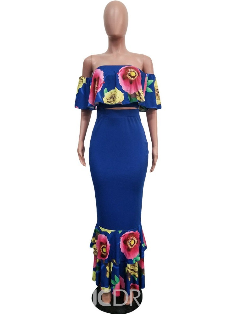 Ericdress Floral Print Mermaid Off Shoulder T-Shirt And Skirt Two Piece Sets