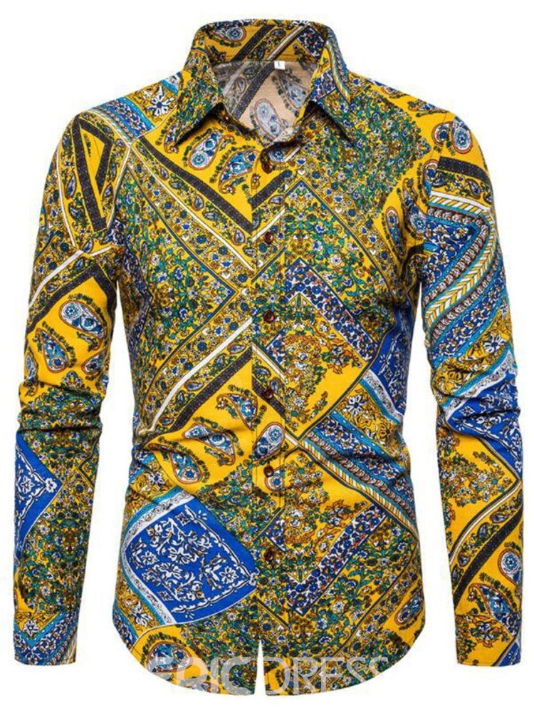 Ericdress Fashion Floral Lapel Single-Breasted Mens Slim Shirt