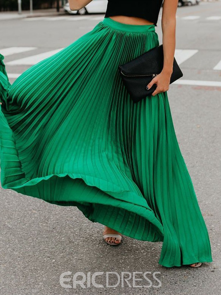 Ericdress Plain Floor-Length Pleated Skirt