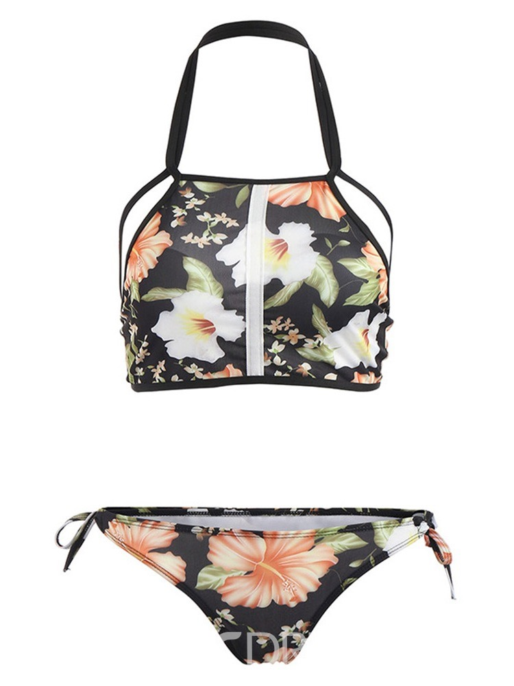 Ericdress Stretchy Sexy Lace-Up Floral Swimsuit