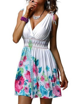 Ericdress Sleeveless Above Knee Backless Mid Waist Floral Dress