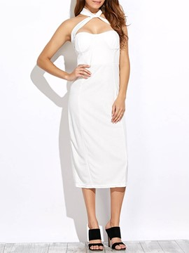 Ericdress Sleeveless Mid-Calf Summer Plain Straight Dress