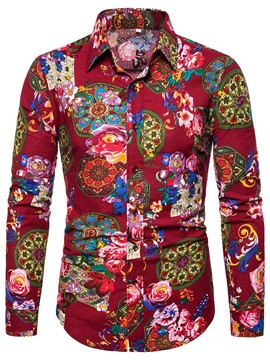 Ericdress Floral Lapel Casual Mens Shirt