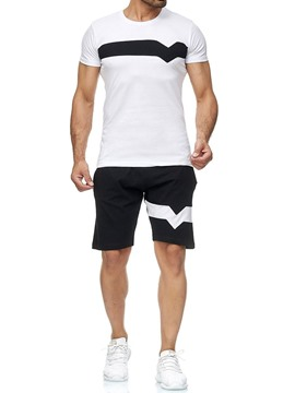 Ericdress Pocket Sports Color Block Mens Outfit