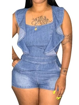 Ericdress Backless Stringy Selvedge Plain DenimSkinny Romper