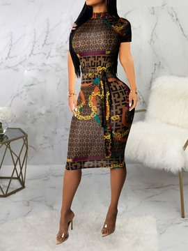 Ericdress African Fashion Mid-Calf Pencil Geometric Dress