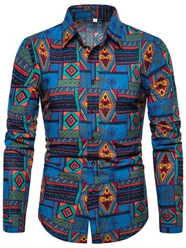 Ericdress Geometric Print Casual Mens Single-Breasted Shirt