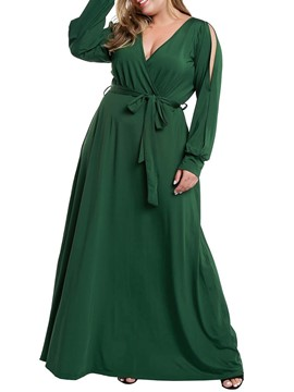 Ericdress Plus Size Cold Shoulder V-Neck Long Sleeve Chiffon Plain Dress