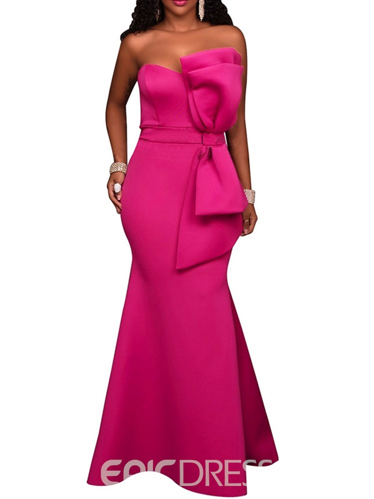 Ericdress Mermaid Bowknot Floor-Length Mid Waist Bodycon Dress
