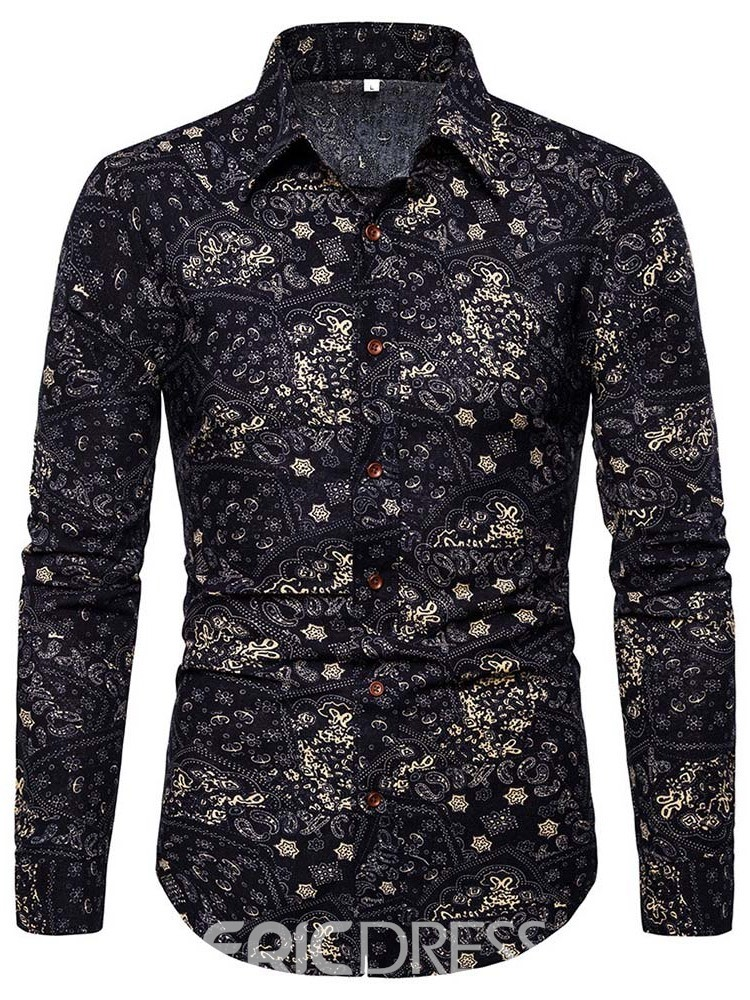 Ericdress Casual Print Lapel Slim Mens Single-Breasted Shirt