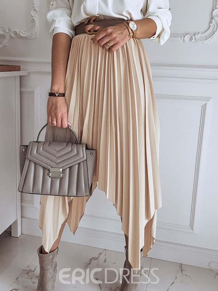 Ericdress Pleated Plain Casual Mid-Calf Skirt(Without Belt)