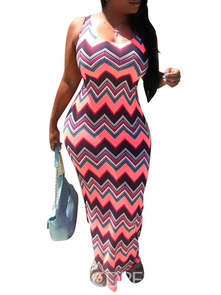 Ericdress African Fashion Sleeveless Ankle-Length Bodycon Dress