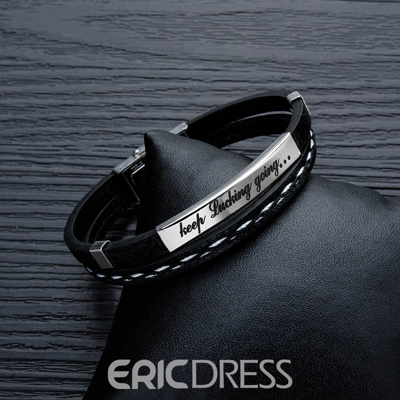 Ericdress Leather Letter Male Bracelet