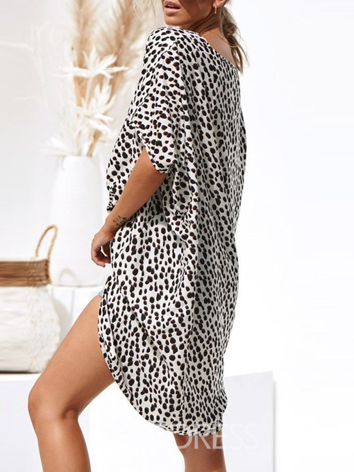 Ericdress Casual Mid-Calf Round Neck Leopard Asymmetrical Dress