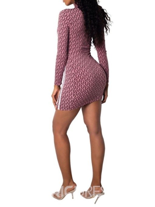 Ericdress Stand Collar Bodycon Above Knee Fashion Print Dress