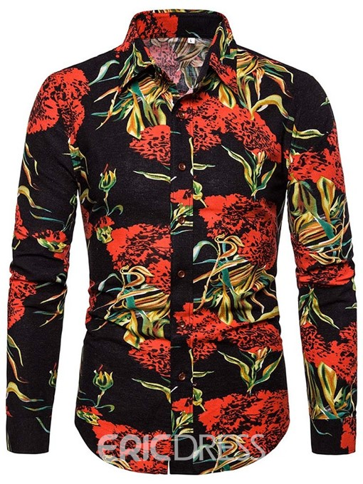 Ericdress Button Plant Lapel Slim Mens Single-Breasted Shirt