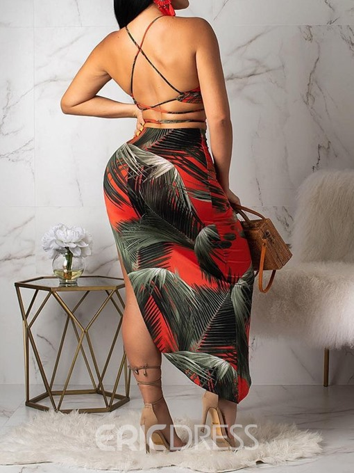 Ericdress Plant Print Asymmetrical Sexy Skinny Vest And Skirt Two Piece Sets