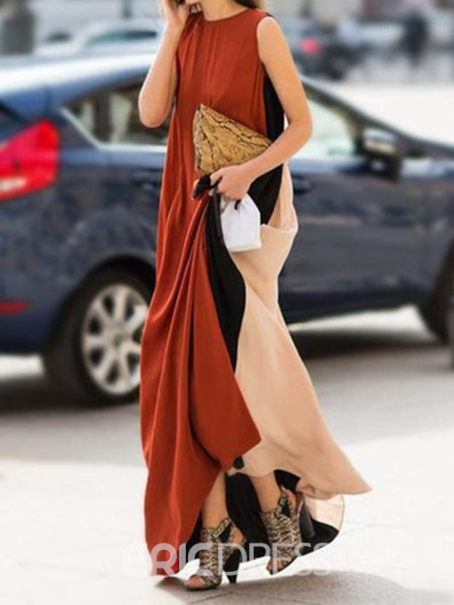 Ericdress Sleeveless Round Neck Floor-Length Color Block Summer Dress