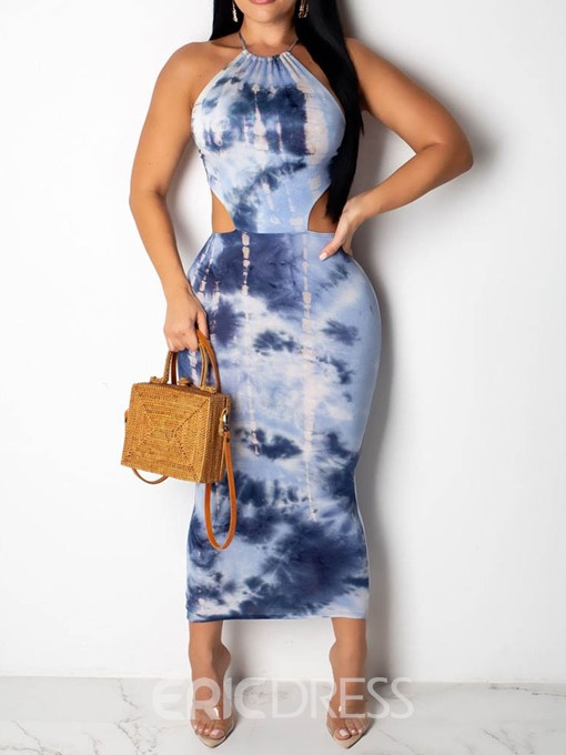 Ericdress Lace-Up Mid-Calf Tie-Dye Sleeveless Halter Pencil Dress