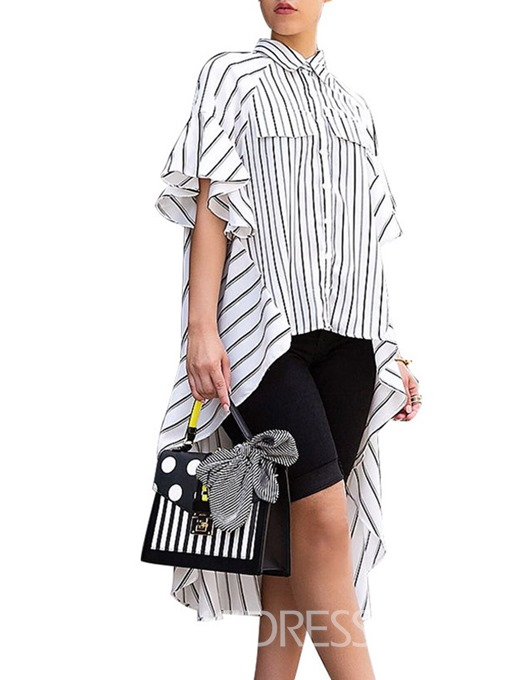 Ericdress Stripe Button Color Block Lapel Long Blouse