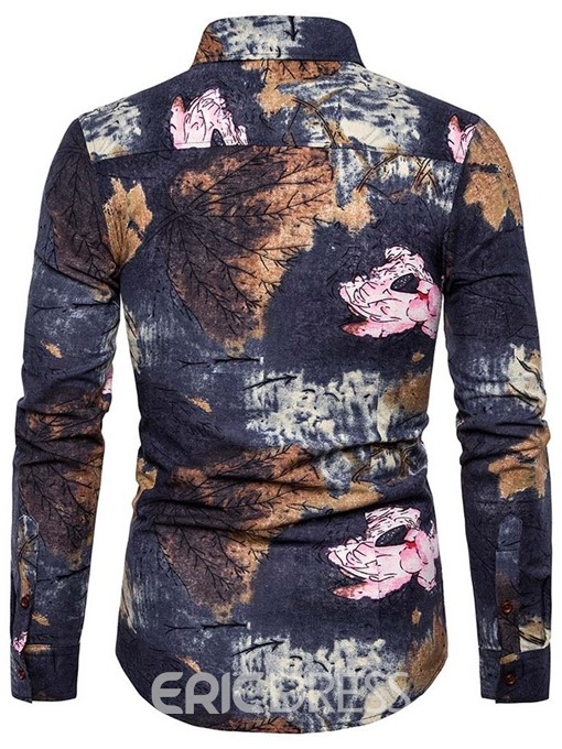 Ericdress Print Casual Lapel Mens Single-Breasted Shirt