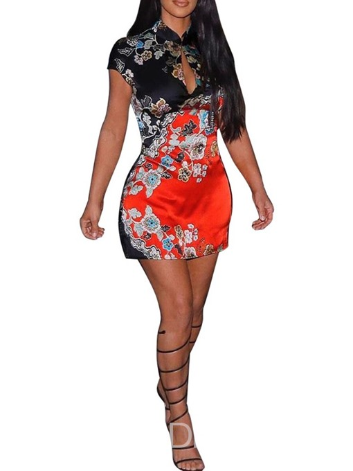 Ericdress Stand Collar Bodycon Above Knee Embroidery Dress
