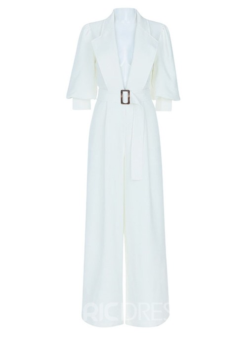 Ericdress Plain Dressy White Office Lady Loose Jumpsuit