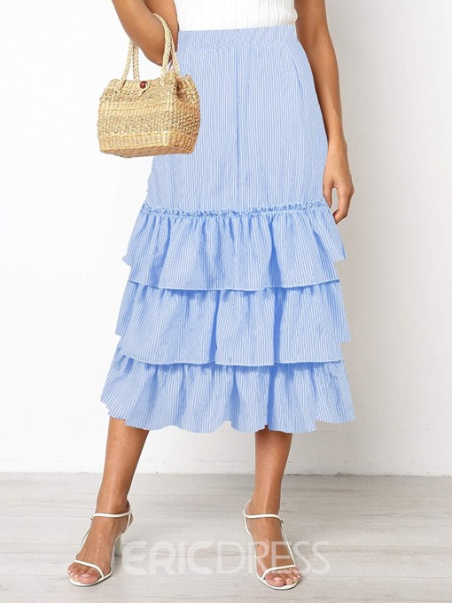 Ericdress A-Line Ruffles Stripe Office Lady Skirt