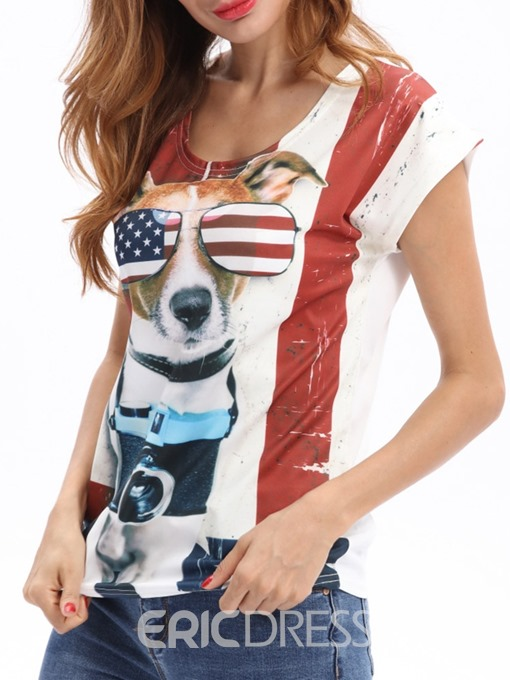 Ericdress Animal Color Block Short Sleeve Casual T-Shirt