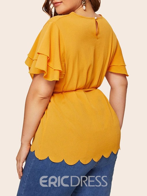Ericdress Plain Lace-Up Plus Size Ruffle Sleeve Blouse