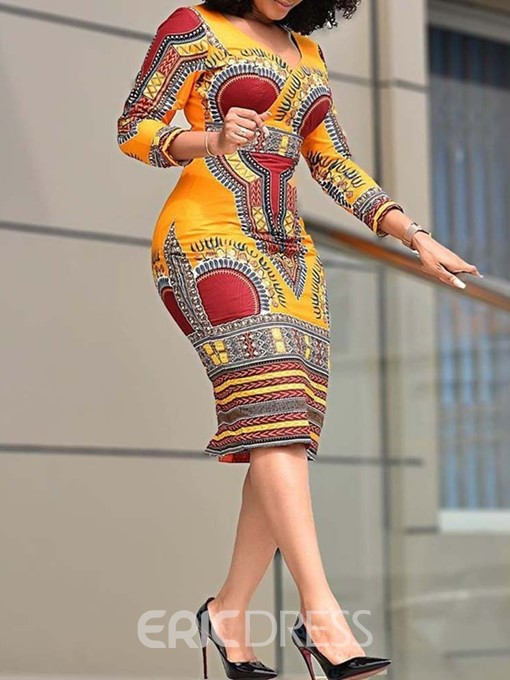 Ericdress African Fashion V-Neck Color Block Regular Bodycon Dress