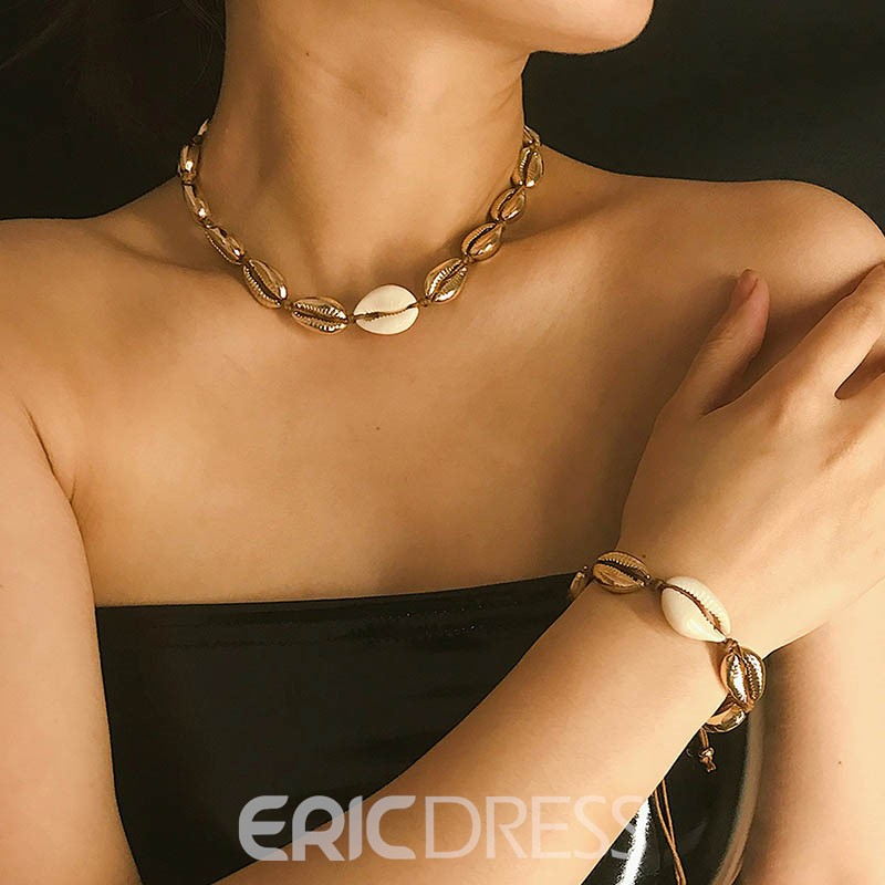 Ericdress E-Plating Golden Conch Jewelry Set