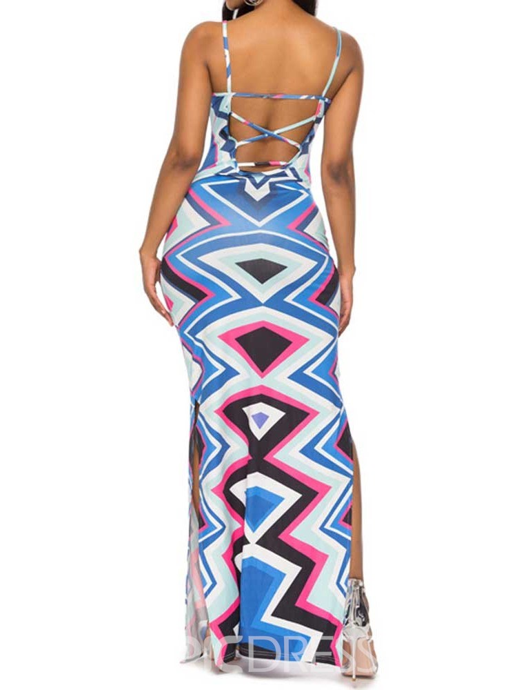 Ericdress African Fashion Ankle-Length Backless Sleeveless Bodycon Dress