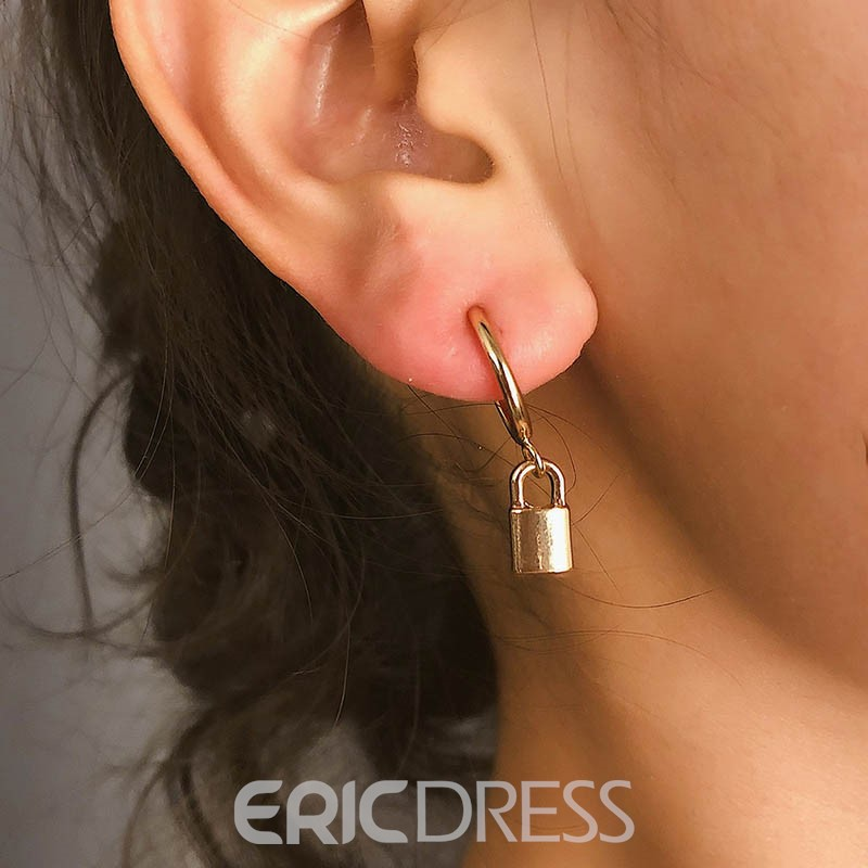 Ericdress Plain Lock Earrings