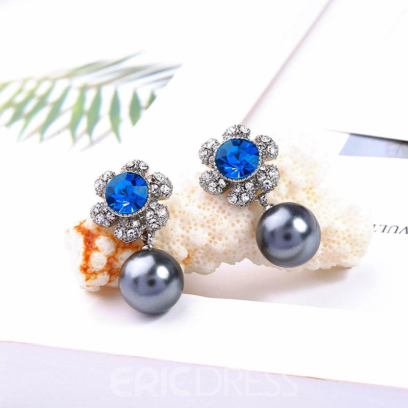 Ericdress Sweet Blue Diamante Women Earrings
