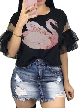 Ericdress Patchwork Mesh Animal Flare Sleeve T-Shirt
