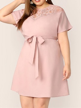 Ericdress Plus Size Round Neck Hollow Above Knee A-Line Regular Dress