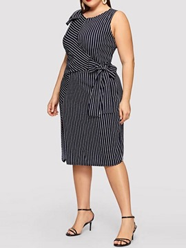 Ericdress Plus Size Striped Mid-Calf V-Neck Lace-Up Straight Dress