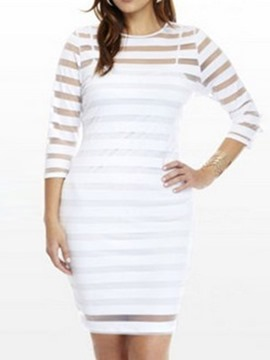 Ericdress Plus Size See-Through Round Neck Bodycon Dress