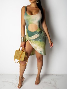Ericdress Asymmetric Sleeveless Above Knee Tie-Dye Pullover Dress