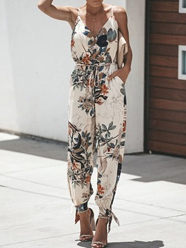 jumpsuit slim estampado floral hasta el tobillo