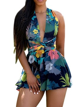 Ericdress Floral Print Sexy Slim Romper