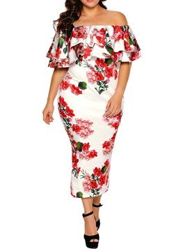 Ericdress Plus Size Off Shoulder Floral Elegant Pencil Dress